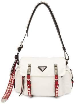 Prada Vela Leather Trimmed Cross Body Bag - Womens - White