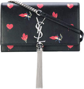 Saint Laurent Kate satchel with hearts and bolt print - BLACK - STYLE