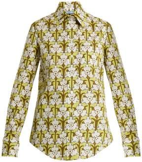 Prada Iris-print cotton-polin shirt