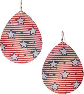 Carole Red Stripes & Stars Oversize Teardrop Earrings