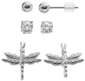 Ball Cubic Zirconia Sterling Silver Dragonfly & Stud Earring Set