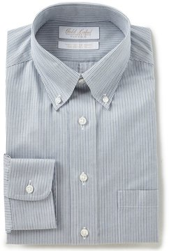 Roundtree & Yorke Gold Label Non-Iron Fitted Button-Down Collar Striped Dress Shirt