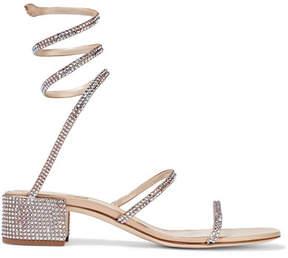 Rene Caovilla Crystal-embellished Satin And Leather Sandals - Beige