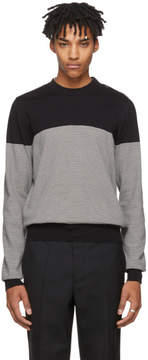 Maison Margiela Black and White Three-Button Shoulder Sweater