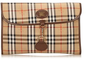 Burberry Pre-owned: Plaid Jacquard Clutch Bag. - BROWN X BEIGE X MULTI - STYLE