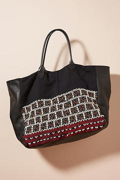 Momo Design Embroidered Brick Tote Bag