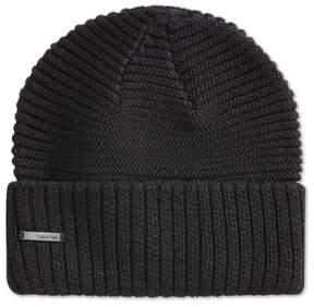 Calvin Klein Unisex Ribbed Cuff Beanie Hat Black One Size