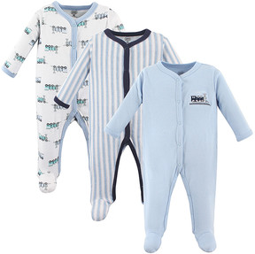 Luvable Friends Blue Trains Snap-Front Footie Set - Infant