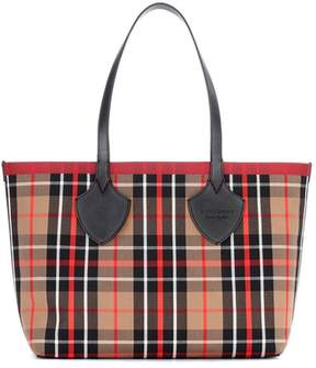 Burberry Large leather-trimmed twill shopper - MULTICOLOURED - STYLE
