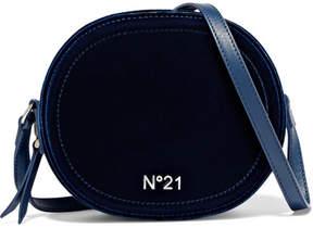 No. 21 - Velvet And Leather Shoulder Bag - Midnight blue