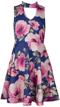 Bonnie Jean Girls 7-16 Floral Print Sleeveless Scuba Skater Dress