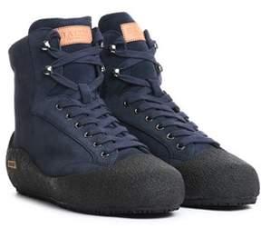 Bally Men's Blue Polyester Hi Top Sneakers.
