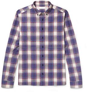 Joseph Elton Button-Down Collar Checked Cotton-Poplin Shirt