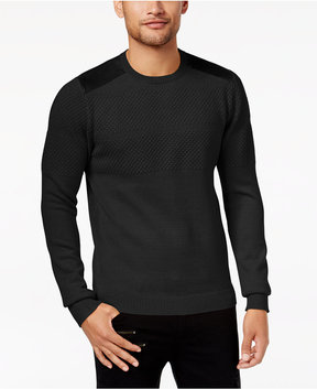 GUESS Men's Sweater with Faux-Suede Trim