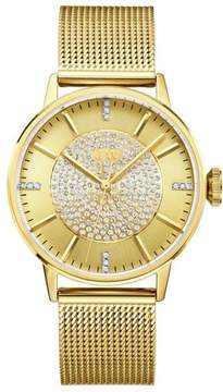 JBW Belle Goldtone 12-Diamond Mesh Band Watch