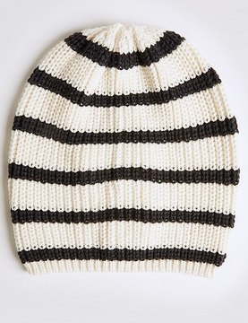 Marks and Spencer Striped Beanie Hat