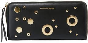 Alexander McQueen Grommet Leather Zip Wallet, Black
