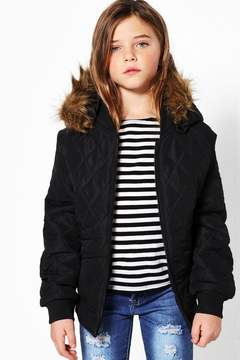 boohoo Girls Quilted Faux Fur Hooded Bomber Jacket