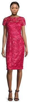 David Meister Sequined Floral Lace Sheath Dress.
