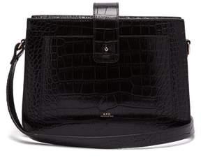 A.P.C. Albane Crocodile Effect Leather Shoulder Bag - Womens - Black