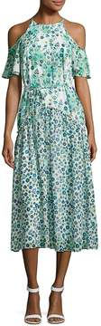 Donna Morgan Women's Floral-Print Cold-Shoulder Dress