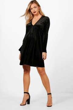 boohoo Maternity Velvet Skater Dress
