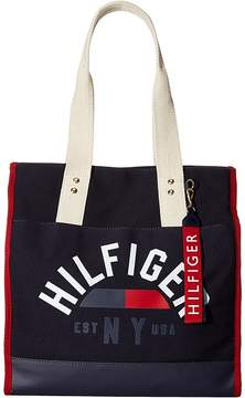 Tommy Hilfiger Carmel North/South Logo Canvas Tote Tote Handbags