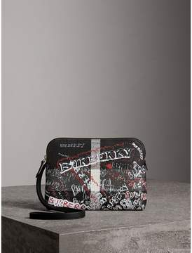 Burberry Large Zip-top Doodle Print Coated Canvas Check Pouch - BLACK/WHITE - STYLE