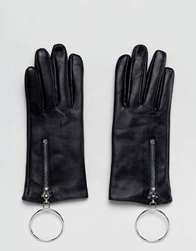 Asos Leather Glove with Oversized Ring and Touch Screen