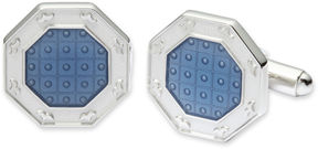 Asstd National Brand Translucent Blue Enamel Octagonal Cuff Links