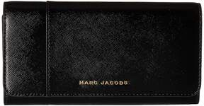 Marc Jacobs Saffiano Color Blocked Flap Continental Handbags - BLACK BERRY - STYLE