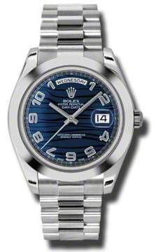 Rolex Day-Date II Blue Wave Dial Platinum President Automatic Men's Watch