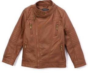 Urban Republic Cognac Faux Leather Moto Jacket - Toddler & Boys