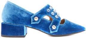 Toga Velvet embellished mid-heel loafers