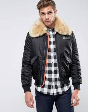 Brave Soul MA2 Bomber with Faux Fur Collar and Rip Off Badge