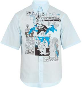 Prada Comic-print cotton-poplin shirt