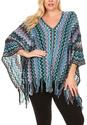 Blue Chevron Wool Poncho - Plus