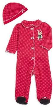 Little Me Baby Girl's Two-Piece Christmas Bear Cotton Footie and Hat Set