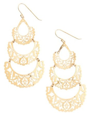 Argentovivo Women's Laser Cut Drop Earrings