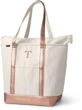 Lands' End Lands'end Large Natural Rose Gold Zip Top Long Handle Canvas Tote Bag