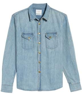 Billy Reid Men's Distressed Denim Western Shirt