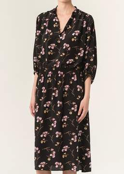 Vanessa Bruno Floral Print Button Front Short Sleeve Dress
