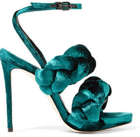 Marco De Vincenzo Braided Velvet Sandals - Emerald