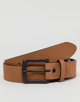 Asos Wide Belt In Matte Tan Faux Leather And Black Matte Buckle