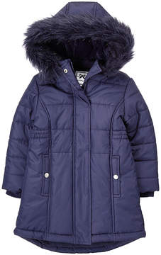 Gymboree Navy Faux Fur-Trim Puffer Jacket - Toddler & Girls