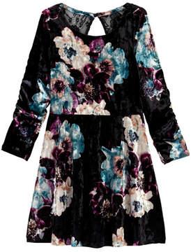 My Michelle mymichelle Floral Printed Velvet Dress (Big Girls)