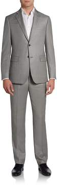 Saks Fifth Avenue BLACK Men's Sharkskin Wool Two-Button Suit/Slim-Fit
