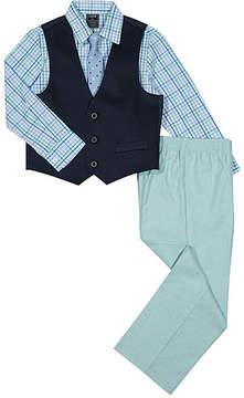 Izod Green Plaid Three-Piece Vest Set - Boys