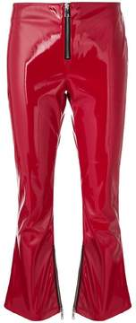 RtA patent faux-leather cropped flared trousers