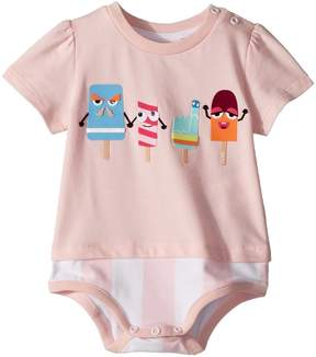 Fendi Short Sleeve Bodysuit w/ Ice Cream Design Girl's Jumpsuit & Rompers One Piece
